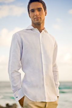 Island Importer - Linen Monaco Shirt - Our first-ever, in-stock, French-cuffed linen shirt in a sleek and sexy, Italian design featuring a 'Roma' collar and slight shirt-tail hem. This is a sporty, slim-fit shirt with tailored body and sleeves.  An excellent choice for your beach or destination wedding! Washable, 100% linen.