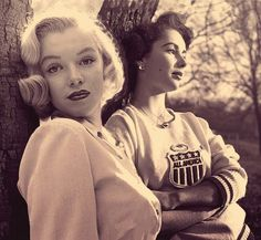 REFLECTIONS — Marilyn Monroe and Elizabeth Taylor in sweatshirts