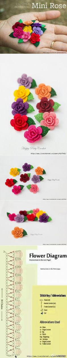 "РОЗОЧКА КРЮЧКОМ ""Small roses with chart."", ""Rosas a crochet"" Crochet Flower Tutorial, Crochet Flower Patterns, Crochet Motif, Crochet Stitches, Knit Crochet, Rose Patterns, Crochet Ideas, Rose Tutorial, Hand Crochet"