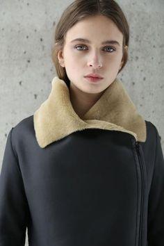 women black beige asymmetric merino shearling coat - koja