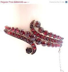 SPRING SALE --- Antique Bohemian Garnet Bangle exceptional 1820 on Etsy, $595.00