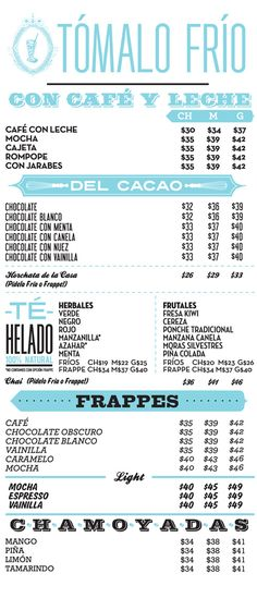 pretty cool menu from cielitio querido cafe