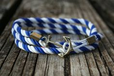 Nautical Cotton Anchor Bracelet -3x times Wrap Bracelet, Any Size, Trendy, Fashion, New England Inspired. $17.00, via Etsy.