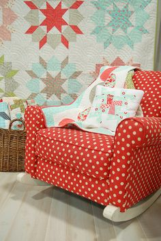 Does it get any better than a red polka dot rocking chair?