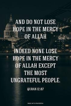 وَلَا تَيْئَسُوا مِنْ رَوْحِ اللَّهِ إِنَّهُ لَا يَيْئَسُ مِنْ رَوْحِ اللَّهِ إِلَّا الْقَوْمُ الْكَافِرُونَ And do not lose hope in the mercy of Allah; indeed none lose hope in the mercy of Allah except the most ungrateful people.