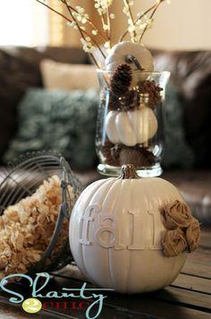 Thanksgiving & Fall Autumn White Pumpkin Centerpiece and Decorating ...