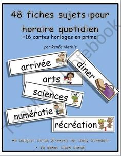 Fiches horaire quotidien (Daily Schedule Cards in French) from Mrs R Mathis on TeachersNotebook.com (16 pages)  - Fiches horaire quotidien (Daily Schedule Cards in French)