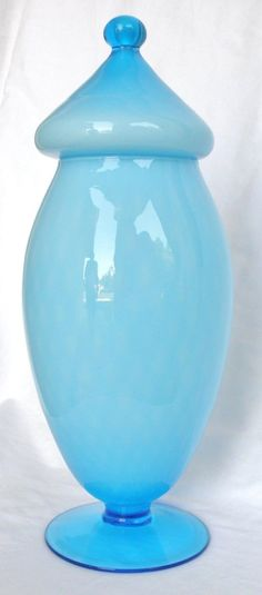 Murano Empoli Apothecary Jar Blue Cased Footed Mid Century