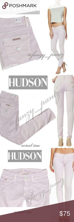 ✅ Hudson mid-rise Collin skinny  jeans stretch 27 Hudon~ Collin~ skinny ~ mid-rise~ flap pocket ~ cotton/poly/lycra stretch ~ lilac, light pink/purple best shown in stock photos: stock photos are exact style and wash as item for sale~ unmoderated photos: taken by me, of actual item for sale~ excellent condition~ NO TRADES PLEASE! REASONABLE OFFERS WELCOME THROUGH OFFER FEATURE Hudson Jeans Jeans Skinny
