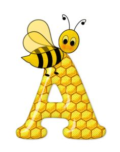 Alphabet letters bee on honeycomb. Bee Crafts, Diy And Crafts, Scrapbook Letters, Bee Pictures, Alphabet And Numbers, Alphabet Letters, Bee Happy, Creations, Monogram