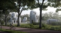 Artist's impression of concrete houses in Eindhoven Eindhoven, 3d Printing Technology, Digital Technology, 3d Printed House, Printed Concrete, Concrete Houses, Natural Resources, Green Building, First World