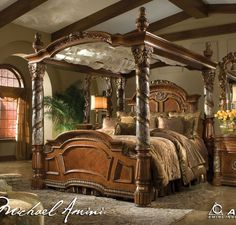 Aico Villa Valencia California King Poster Canopy Bed in Classic Chestnut, offered by Aico Furniture, browse our great selection of Wood Beds King Size Canopy Bed, Canopy Bedroom Sets, Canopy Bed Frame, Canopy Beds, Wood Canopy, Bedding Sets, Tree Canopy, Fabric Canopy, Canopy Lights