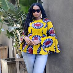 Are you looking for some stylish and trendy ankara tops to wear with Jeans? Then this post will help you in looking for the perfect African print to buy or… African Tops, African Dresses For Women, African Print Dresses, African Attire, African Wear, African Fashion Dresses, African Women, Ghanaian Fashion, African Prints