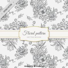 teste padrão floral Sketches Vetor grátis