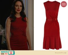 Victoria's red gathered front dress with flared hem on Revenge.  Outfit Details: http://wornontv.net/31511/ #Revenge