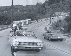 JFK on Carothers Road in Newport, Kentucky Oct. 7, 1960 (Note steeple of St. Francis)