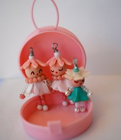 beaded doll charm pendant ornament pink vintage beads