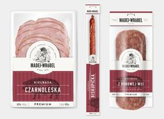 """Branding and packaging design for a local meat manufacturer from Silesia. Madej & Wróbel are the surnames of the company's owners. """"Madej"""" is a name of a legendary outlaw and """"Wróbel"""" is a sparrow in Polish. Cool Packaging, Food Packaging Design, Coffee Packaging, Bottle Packaging, Packaging Design Inspiration, Brand Packaging, Carnes Premium, Meat Packing, Chocolate Packaging"""