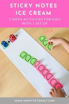 Craft Activities For Toddlers, Hands On Activities, Preschool Activities, Multiplication Activities, Math Crafts, Simple Math, Math Concepts, Sticky Notes, Kids Learning