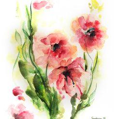 Flowers Watercolor Painting Art Print, Floral Watercolour Art, Wall Art