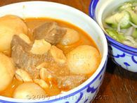 Thai Beef Masaman Curry. Delicious with tender beef brisket. Serve over sticky rice.