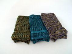 Cotton Knit Dishcloths in JazzBlue/Turquoise, Purple/Lemon and Dark Green/Gold, Knit Dishcloths, Knit Washcloth, Dishcloth, Washcloth