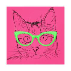 Pencil Sketch Cat with Glasses Canvas Prints