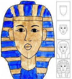 For M& fascination with Egypt and mummies phase. Art Projects for Kids: How to Draw King Tut Ancient Art, Ancient History, Art History, Ancient Egypt Art For Kids, Ancient Egypt Crafts, Classe D'art, Art Du Monde, 6th Grade Art, Art Antique