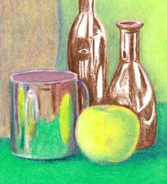 Steps for Oil Pastel Drawing At the bottom of the page are also slideshows for drawing and shading with pencil or soft pastels. Oil Pastel Drawings, Easy Drawings, Easy Still Life Drawing, Back To School Art Activity, Art Videos For Kids, Poses, Art Lessons, Art Reference, Watercolor Art