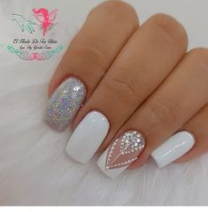 Elegant Nails, Classy Nails, Love Nails, Pretty Nails, Glitter Nails, Gel Nails, Glamour Nails, Manicure E Pedicure, Best Acrylic Nails