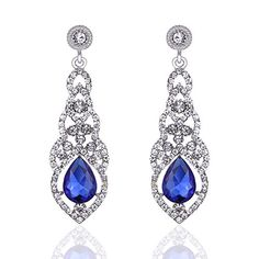 mecresh Clear/Gold/Champagne/Blue Crystal Unique Design Flower Teardrop Dangle Earrings for Bridemaid or Wedding