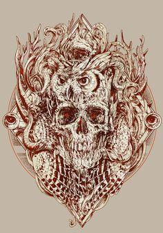 30 Beautiful Illustrations Featuring Skulls and Skeletons Crane, Boog Tattoo, Design Spartan, Skull Illustration, Tattoo Project, Desenho Tattoo, Scratchboard, Black Artwork, A Level Art