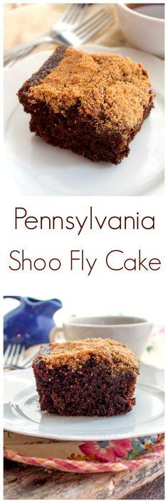 Pennsylvania Shoo Fly Cake via @https://www.pinterest.com/BunnysWarmOven/bunnys-warm-oven/ [rich molasses cake\