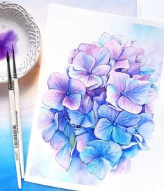 So beautiful! Watercolor Source by Watercolor And Ink, Watercolour Painting, Watercolor Flowers, Watercolor Artists, Watercolor Portraits, Watercolor Landscape, Landscape Art, Art Floral, Hydrangea Tattoo