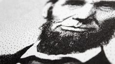 Abraham Lincoln Pen Pointillism - detail