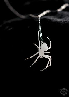 Spider necklace in silver stainless steel - silhouette jewelry