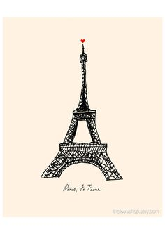 Paris. Je Taime. French love print in 8x10 inches on A4 in Cream and Classic Black. $20.00, via Etsy.