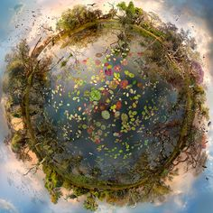 digitally stitched together, the spherical landscapes form miniature planets that blur the line between fiction and reality.