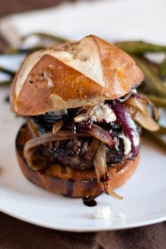 Red Wine Burgers With Caramelised Onions And Goat Cheese