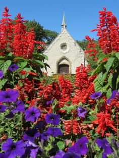 Towering flowers at Marquette University's St. Joan of Arc Chapel.