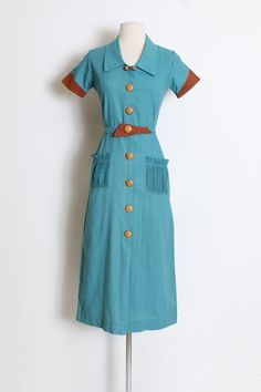 Your place to buy and sell all things handmade 1940s Dresses, Vintage Dresses, 1940s Woman, 1940s Fashion, Button Dress, Belted Dress, Pink Dress, Clothes For Women, Women's Clothes
