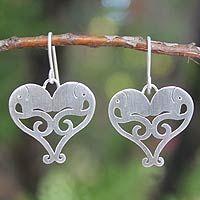 Sterling silver heart earrings, 'Elephant Sweethearts'