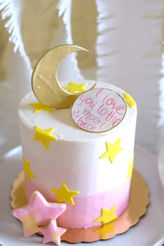 I love you to the moon and back pink ombre baby shower cake from Jenna Rae Cakes for a party thrown by @glitterandgluepartyboxes