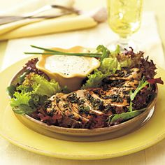 Grilled Herb-Coated Chicken Breasts | MyRecipes.com    So I didn't have buttermilk and just used mayonnaise with all of the herbs. Also substituted 2 tablespoons of lemon juice with 1 tablespoon of lime juice (that's all I had). Twas good and you could definitely taste the herbs, but next time I'd like buttermilk and lemon juice, less mayo, and more honey!