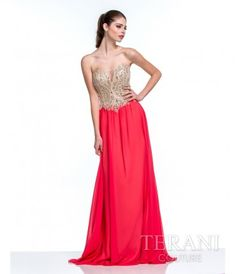 Please allow a 4 day handling time on this dress. This is an coral and nude chiffon strapless prom gown with sweetheart....Price - $341.00-Ab6CPak9