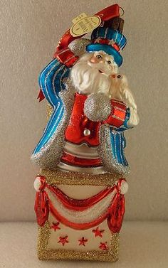 Waterford Holiday Heirlooms Patriotic Santa Blown Glass Ornament
