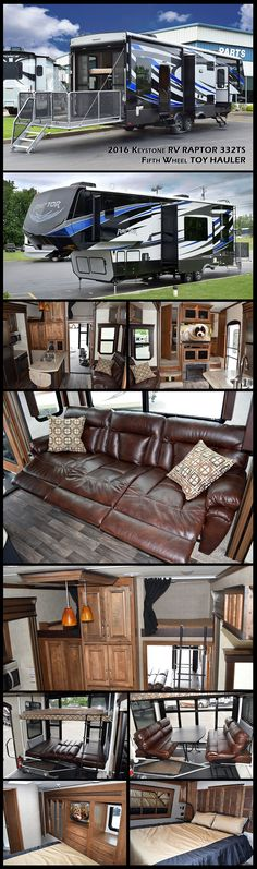 """2016 KEYSTONE RV RAPTOR 332TS fifth wheel toy hauler. Take your fun up a notch camping in this luxury toy hauler! Inside the 12"""" garage you'll find plenty of space for parking your toys, dual opposing sofas with electric bed above, plus a twin size loft above in the front of the garage and a side man door. Head inside where you will find a slide-out 97"""" sofa with recliners and a dinette table. There is also an entertainment center with a cozy fireplace."""