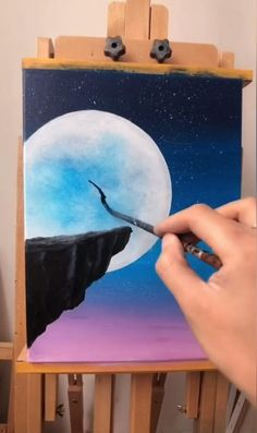 Simple Canvas Paintings, Small Canvas Art, Diy Canvas Art, Drawing On Canvas, Simple Watercolor Paintings, Easy Acrylic Paintings, Easy Nature Paintings, Magical Paintings, Moon Drawing
