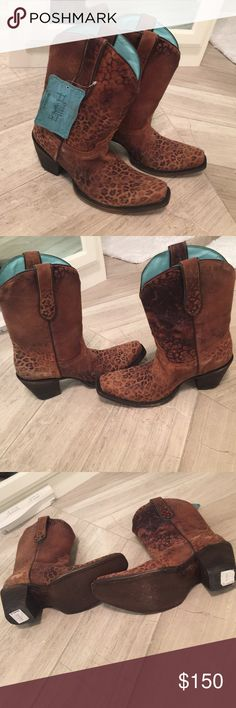 Leopard Corral boot NWT. Love these! Leopard Corral boot NWT. Love these! My husband bought me these but he bought them a size big😢 they are a size 9. They have some scuffing from sitting in the box😢 Corral Shoes Heeled Boots