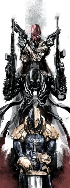 Red Hood, Agent Venom and Deathstroke. Three of the most amazing soldiers in DC comics Comic Book Characters, Comic Book Heroes, Comic Character, Comic Books Art, Comic Art, Hq Marvel, Marvel Dc Comics, Anime Comics, Deathstroke